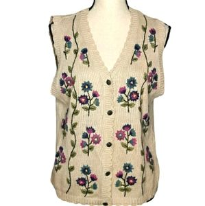 Floral Embroidered Grannycore Sweater sz M